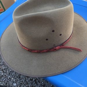 Tan Hat with Red Leather Band